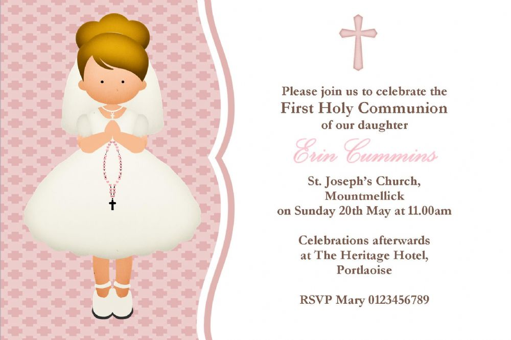 Personalised First Communion Invitations Girl New Design 4